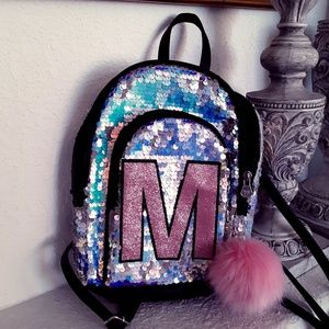 Justice M Backpack - sparkle pink black 10 X 8